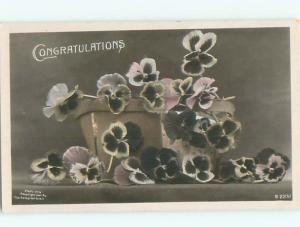 Old rppc FLOWERS SCENE Pretty Postcard AB2313