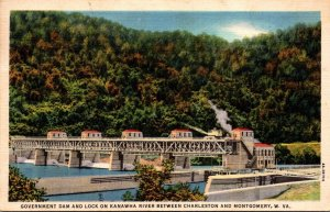 West Virginia Charleston/Montgomery Government Dam and Lock On Kanawha River ...
