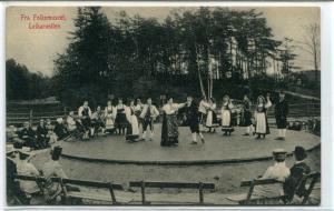 Fra Folkemuseet Folk Dancing Leikarvollen Norway 1910c postcard