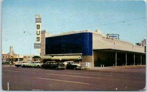 Oklahoma City OKC Postcard GREYHOUND BUS DEPOT Street View Cars 1958 Cancel