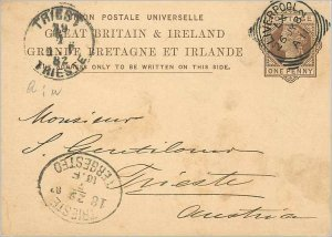 Entier Postal Stationery Postal Britain Great Britain in 1882 Liverpool to Tr...
