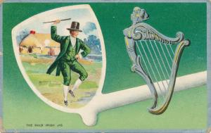 St Patrick's Day Greetings - Celtic Harp and Dancing a Irish Jig - pm 1912 - DB