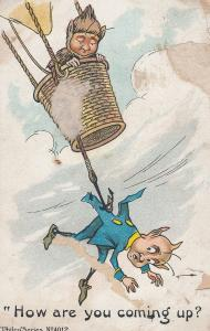 Devil in Hot Air Balloon Cutting Rope Old Comic Postcard
