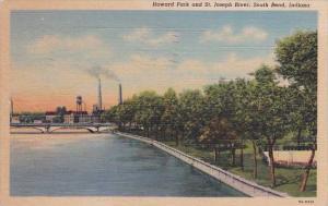 Indiana South Bend Howard Park And Saint Joseph River 1947