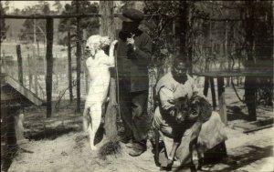 Black Americana - Woman Holding Calf - Man w/ Dog Unusual Real Photo Postcard