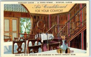 Rockford, Illinois Postcard MANDARIN GARDEN Chinese Restaurant Linen c1940s