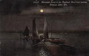 Wisconsin Delavan Moonlight Scene At The Hioghland Hotel Boat Landing 1913