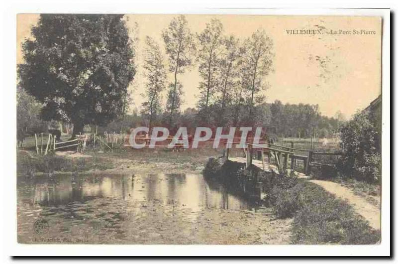 Villemeux Vintage Postcard the bridge St Pierre