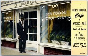 Natchez, Mississippi Postcard OLD SOUTH CAFÉ Restaurant / Black Doorman c1950s