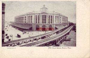 PRE-1907 SOUTH STATION BOSTON, MA Souvenir Post Card Co. NY 6990
