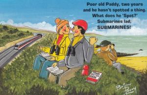Irish Man Submarine Boat Spotting Binoculars 1970s Comic Humour Postcard