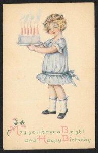 Happy Birthday Pretty Girl In Blue Dress & Cake Used c1920s