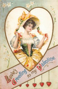 F77/ Valentine's Day Love Holiday Postcard c1910 Pretty Girl Heart 23