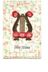 Best Wishes - Brass Painted Harp, Felt Flowers, Musical Instrument