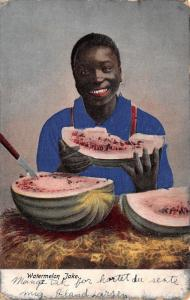 Black Americana~Watermelon Jake~Young Man With Knife~Embossed~1907 Postcard