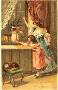 Happy Christmas Brown Suited Santa Claus Lantern Waving Girl Mom Postcard