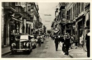 gibraltar, Main Street, Beanland Malin Publisher, Car (1950s) RPPC
