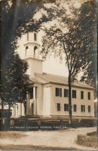 Mendon MA~Unitarian Church w/Big Columns~Bell in Steeple~Ivy on Pole 1915 RPPC