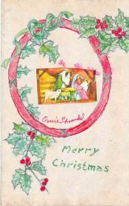 Merry Christmas Postcard HANDMADE Hand-Painted Sprandel Wooster Ohio WREATH 214