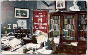 Lincoln, Nebraska Postcard Study of William J. Bryan at Fairview c1910s Unused