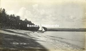 Bismarck Archipelago PNG, RABAUL, New Britain, Drying the Sail (1910s) RP