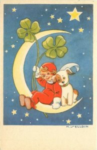 Artist Signed, H. Elldin, Little Girl and Dog on Moon