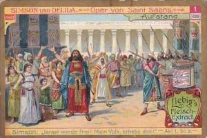 Liebig Vintage Trade Card S858 Samson &  Delilah No 1 Aufstand