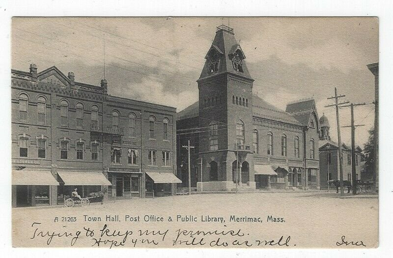 Merrimac, Massachusetts, Postcard View of Town Hall, Post Office & Library, 1907