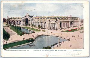 1904 St. Louis World's Fair Postcard PALACE OF MANUFACTURES 1906 PA Cancel