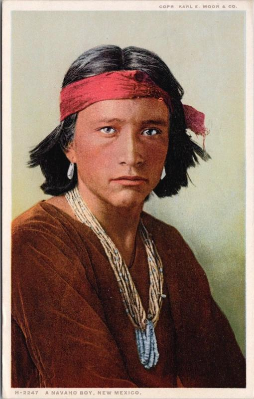 A Navajo Boy New Mexico NM Native American Indian Indigenous c1928 Postcard E36