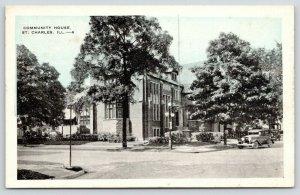 St Charles Illinois~Community House on Corner~Vintage Car~1920 Blue Sky Postcard