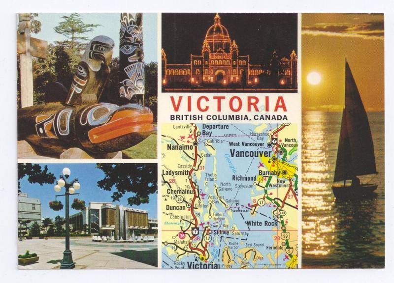 Victoria British Columbia Canada Multiview Map 1978 4X6