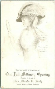 1909 GALVA, IL Advertising Postcard MAUDE M. SEELY Our Fall Millinery Opening