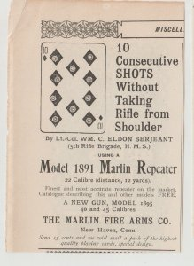 1896 Marlin Repeater Rifle Model 1891 Ad, Illustrated