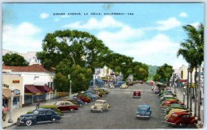 LA JOLLA, California  CA   GIRARD AVENUE Street Scene  ca 1940s Linen   Postcard