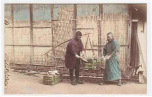 Vegetable Seller Japan 1910c postcard