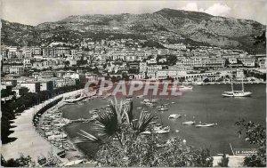 Modern Postcard Principality of Monaco harbor view to Monte Carlo
