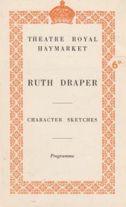 Ruth Draper A Miners Wife Doctor Dieting WW2 Comedy London Haymarket Theatre ...
