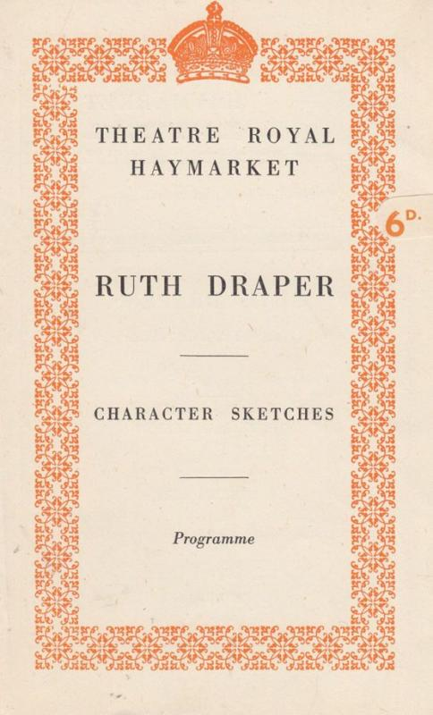 Ruth Draper A Miners Wife Doctor Dieting London Haymarket Theatre Programme s