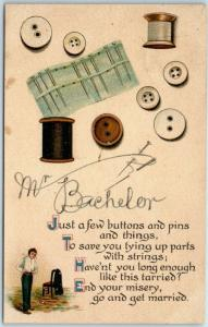1909 Greetings Postcard Mr. Bachelor - Just a Few Buttons & Pins & Things…