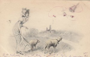 AS; M.M. VIENNE; Woman walking sheep, PU-1901