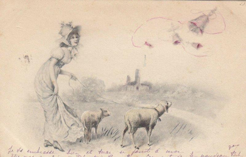 AS; M.M. VIENNE; Woman walking sheep, PU-1901