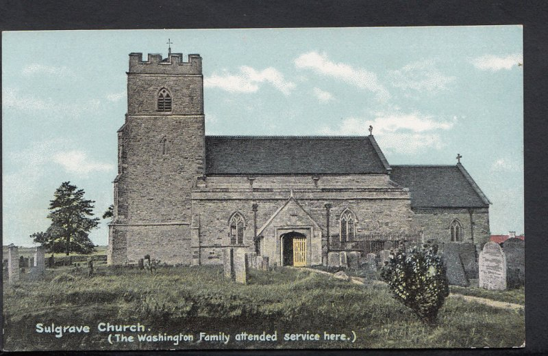 Northamptonshire Postcard - Sulgrave Church, Washington Family Attended RS2559
