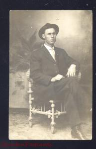 RPPC COPEVILLE TEXAS 1910 MAN IN WICKER CHAIR HAWKINS OLD REAL PHOTO POSTCARD