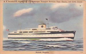 S S POcahontas Automobile and Passenger Ferry Norfolk Virginia 1949