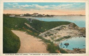 Newport Rhode Island~Cliff Walk Near Tunnel~The Breakers~1920s Postcard