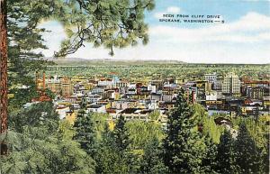View from Cliff Drive Spokane Washington WA Linen Postcard