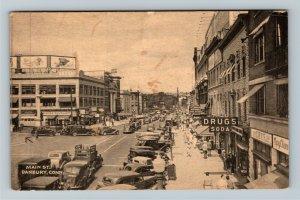 Danbury CT-Connecticut, Busy Main Street Shops, Period Cars, Vintage Postcard
