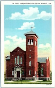 Cullman, Alabama Postcard St John's Evangelical Lutheran Church Curteich Linen