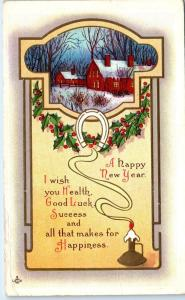 ARTS & CRAFTS Style 1913  NEW YEAR  Postcard  I WISH YOU HEALTH